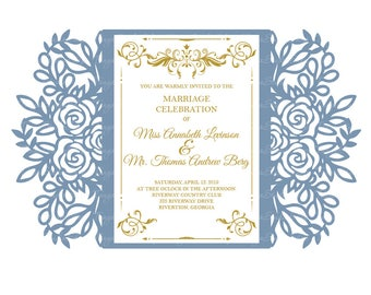 laser cut wedding invitation template etsy
