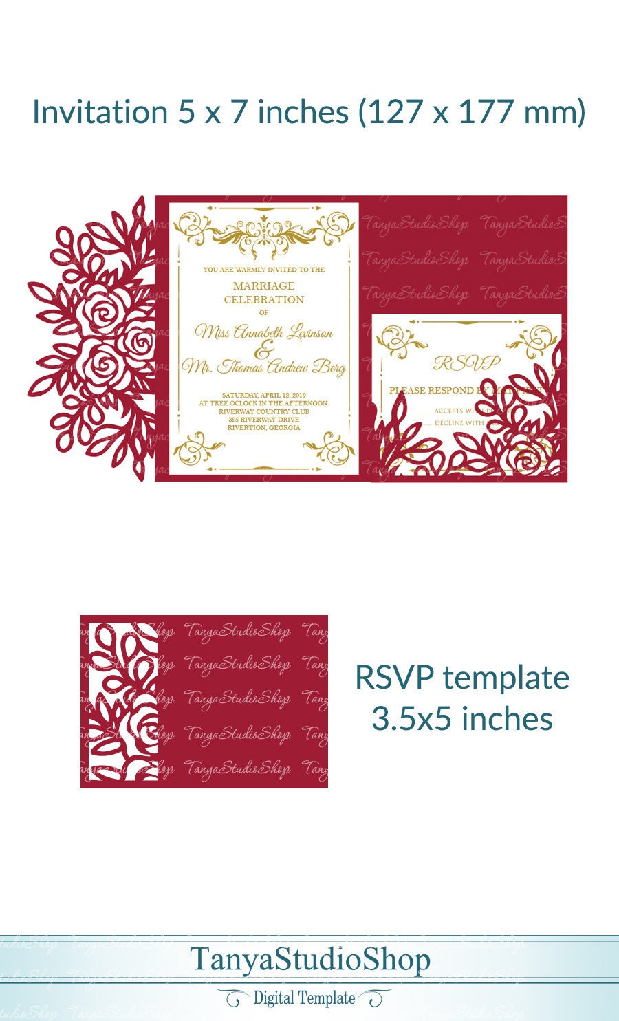 Wedding invitation RSVP templates SVG ai CRD eps | Etsy