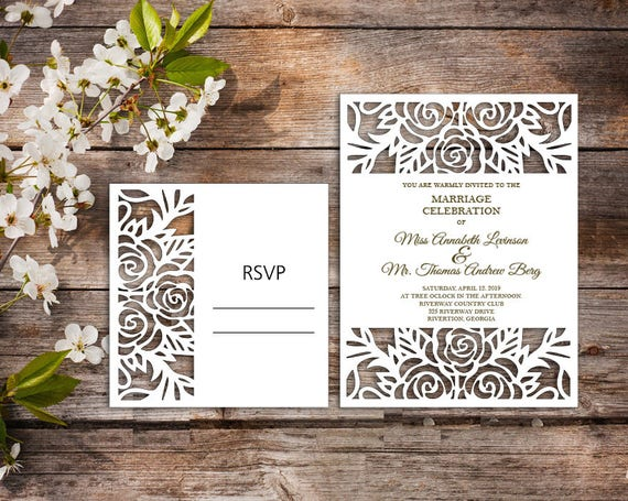 Wedding Invitation Template Svg Dxf Ai Crd Eps Laser Paper Cut Silhouette Cameo Cricut Instant Download 127