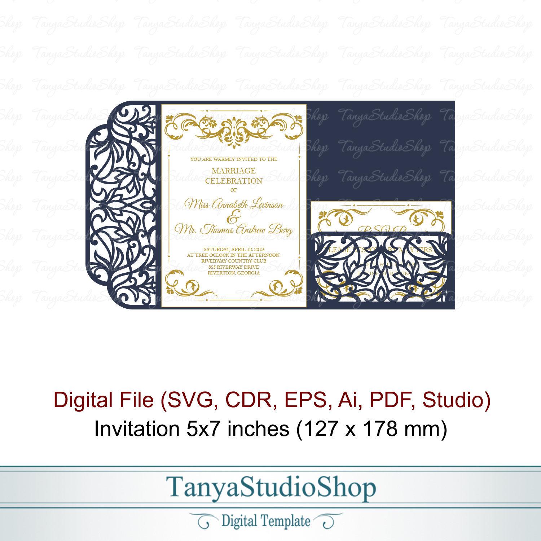Tri-fold 5x7'' invitation template SVG ai CRD | Etsy