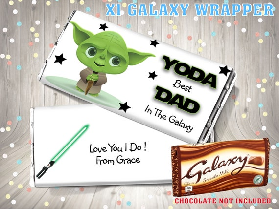PERSONALISED Photo Fathers Day CHOCOLATE BAR WRAPPER fit Galaxy Father/'s Day