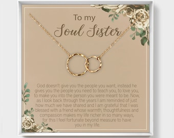 Wedding Gift For Best Friend Bonus Sister Other Sister Unbiological Sister Interlocking Circle Necklace Birthday Gift Idea