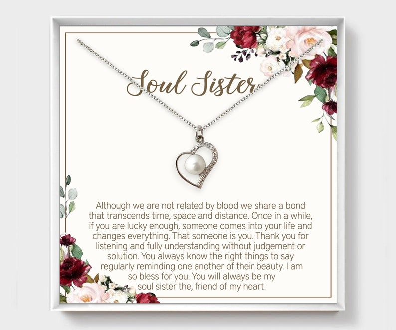Gift For Best Friend Friendship Jewelry Heart Necklace CZ Soul Sister Gift Birthday Gift Sister Necklace Cubic Zirconia Gift For Her