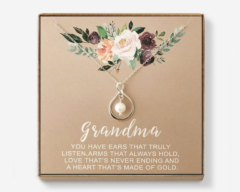 Grandma Gift, Grandmother, Mimi, Gigi, Nana, Granny, Nona, Sterling Silver  Infinity Pearl Necklace, Mothers Day, Birthday, Wedding, New