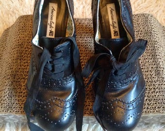 LACE UP PUMPS black vintage granny Oxford pumps free domestic shipping