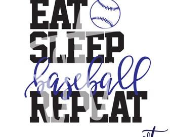 Eat Sleep Baseball Repeat Decal; Vinyl Decal; Baseball