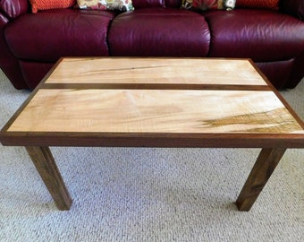 Coffee Table, Spalted Ambrosia Maple And Black Walnut, Handcrafted, READY  TO SHIP