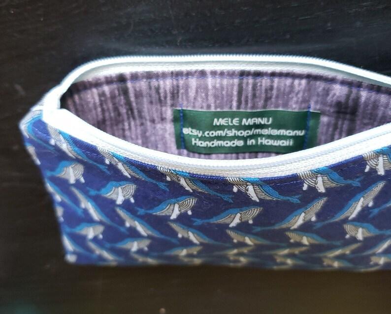 Blue Grey Tiny Humpback Whales Woodgrain Zipper Bag