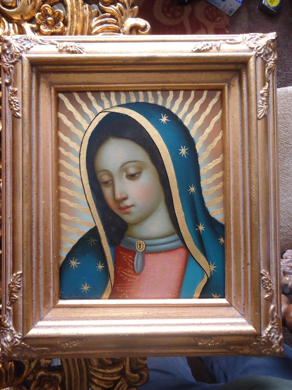 Our Lady Of Guadalupe Virgen De Guadalupe Original Oil Etsy