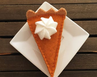 Pumpkin Pie Slice, Pumpkin Pie, Felt Food, Felt Pumpkin Pie