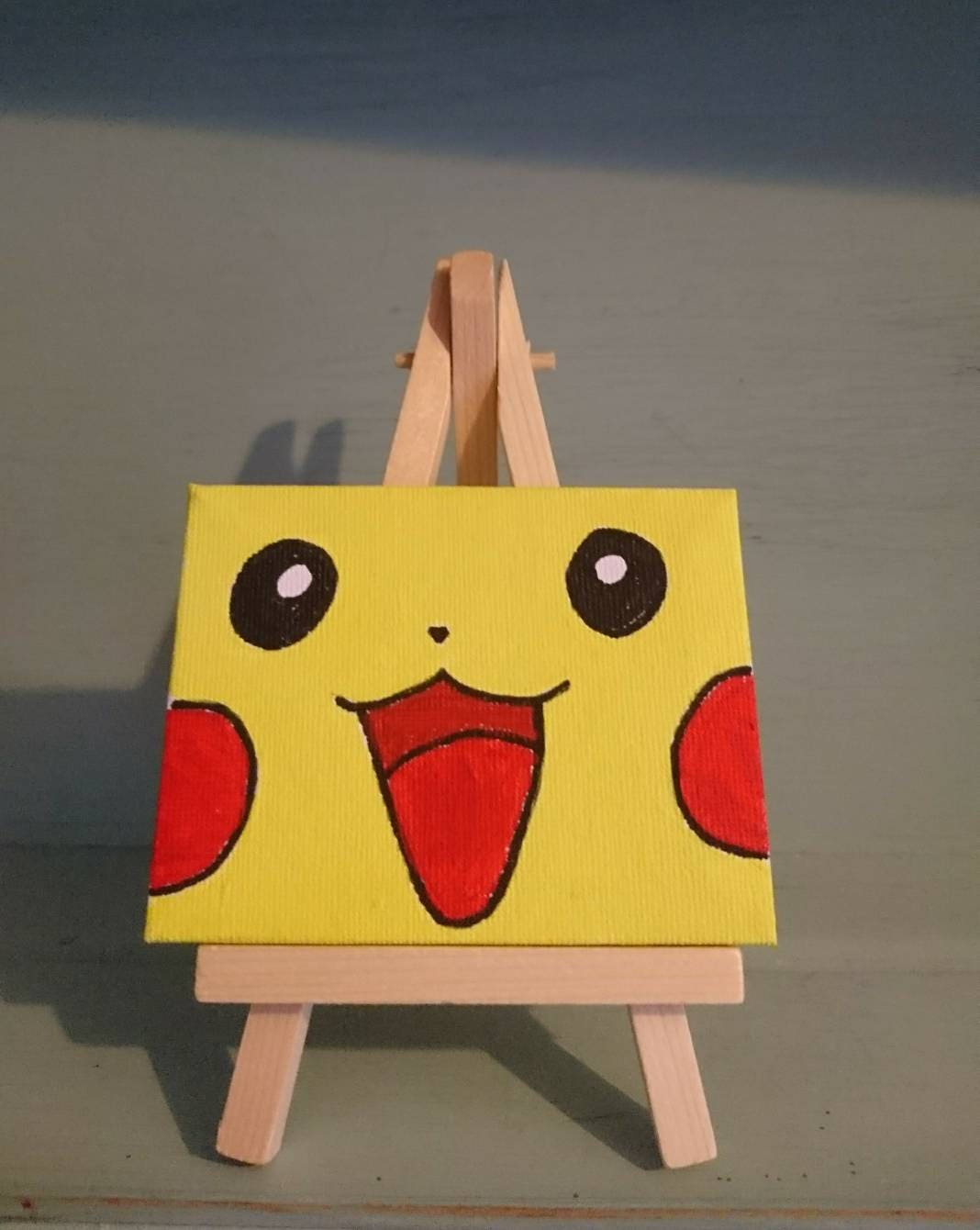 Pikachu Pokemon hand painted mini canvas with wooden easel | Etsy