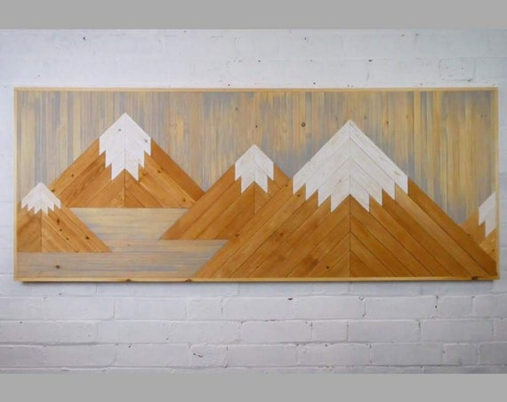 Mountain scape wall art made from reclaimed wood. Large mountain wall art