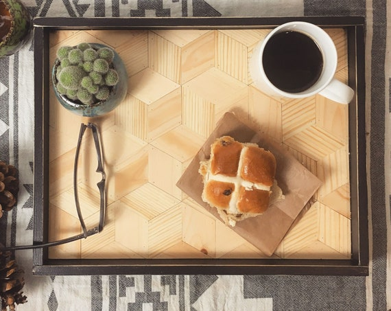 Handmade Serving Tray With Geometric Cube Pattern