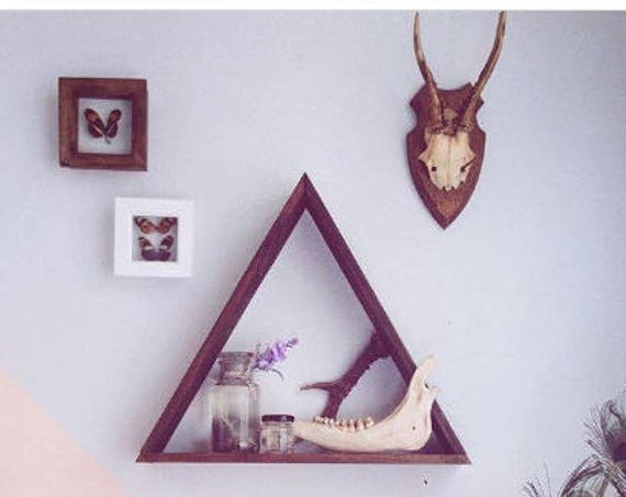 Dark Wood Shelves, Triangle Shelving, Wood Triangle Shelving, Triangle Shelves, Wooden Shelves, Wooden Shelving, Geometric Shelves