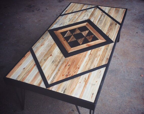 Coffee table with geometric patterb design