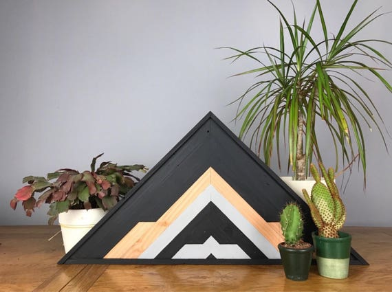 Mountain Wood Art Wall, Geometric Wood Art Wall Rustic, Reclaimed Wood Triangles, Industrial Home Ideas, Geometric Wood Art Wall Bathroom