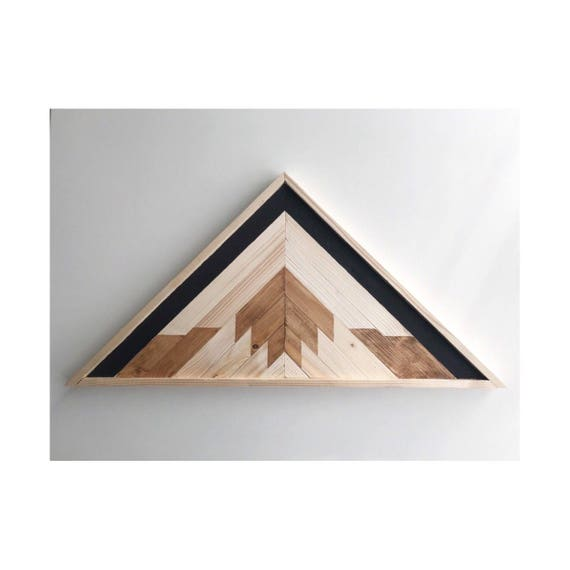 Wood Mountain Art, Geometric Wood Art Wall, Reclaimed Lath Mountain Art, Reclaimed Wood Mountains Industrial, Reclaimed Lath Triangle Art