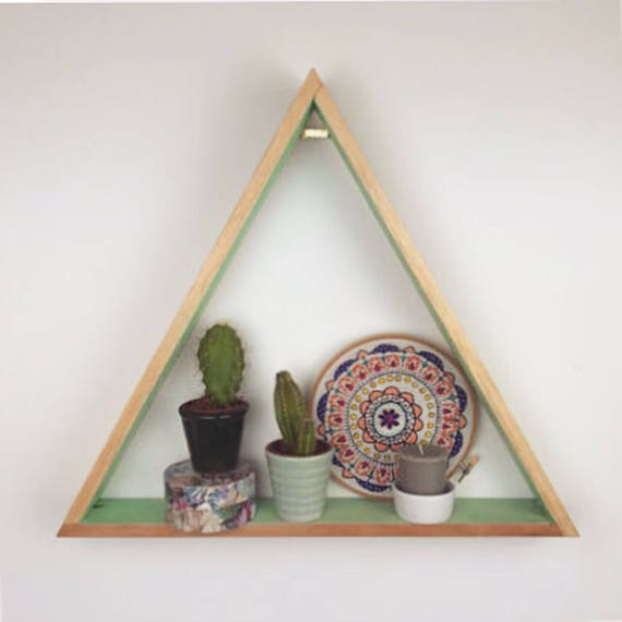 Wood Bedroom Shelving, Triangle Shelving, Wood Triangle Shelving, Triangle Shelves, Wooden Shelves, Wooden Shelving, Geometric Shelves
