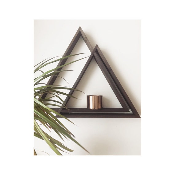 Triangle Shelving, Wood Triangle Shelving, Wood Triangle Shelves, Triangle Shelves, Wooden Shelves, Wooden Shelving, Geometric Shelves, Boho