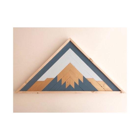 Wood Mountain Art, Geometric Wood Art Wall, Reclaimed Lath Mountain Art, Reclaimed Wood Mountains Industrial, Reclaimed Lath Triangle Art