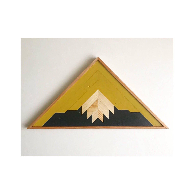 Reclaimed Lath Mountain Art, Triangle Wall Hangings, Mountain Wall ...