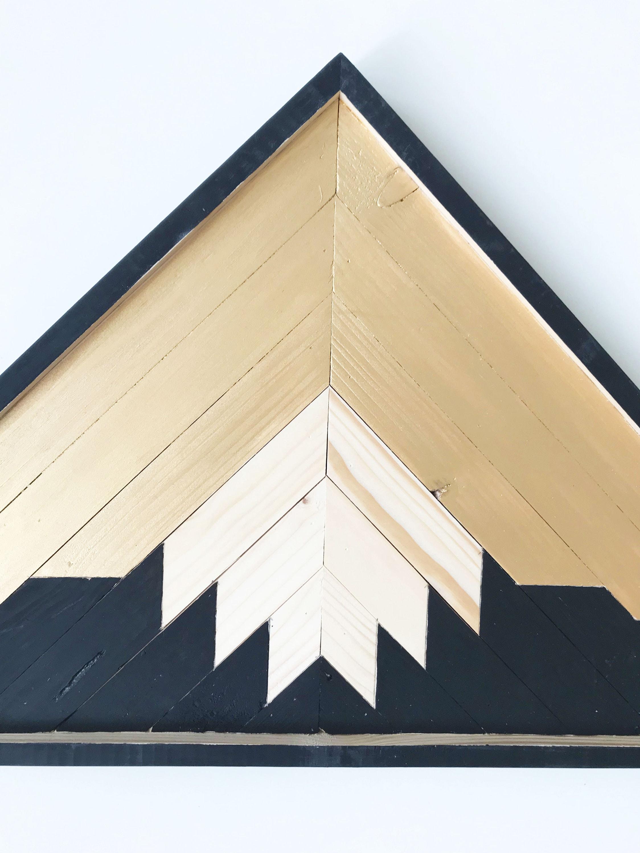 Reclaimed Wood Mountains Industrial, Geometric Wood Art Wall ...