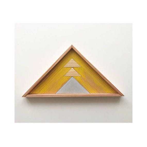 Industrial Wood Mountains, Modern Wood Mountains, Modern Wood Triangle, Reclaimed Wood Triangle, Reclaimed Triangle Art, Robertson Cheney