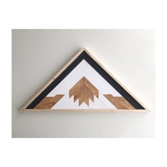 Rustic Mountain Wood Art, Industrial Mountain Wood Art, Lath Triangle Wood Art Wall, Geometric Wood Art Wall Living, Reclaimed Wood Triangle