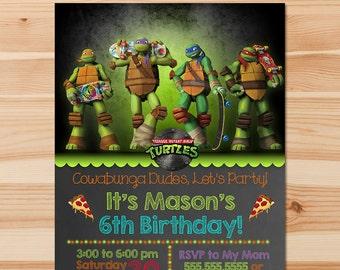Teenage Mutant Ninja Turtles Birthday Invite - Chalkboard - Ninja Turtles Invitation -Ninja Turtles Party - Ninja Turtles Party Printables