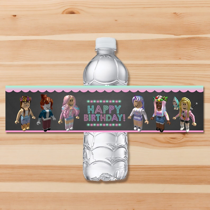 Girl Roblox Drink Label - Pink Girl Roblox Water Bottle Label - Roblox Birthday Party Girls Roblox Printables - Roblox Party Favors - 100925