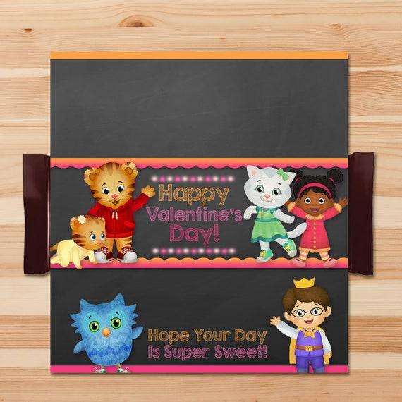 Daniel Tiger Valentine's Day Candy Wrapper Pink - Girl Daniel Tiger Chocolate Bar Wrapper - Daniel Tiger Valentine's Party - 100474