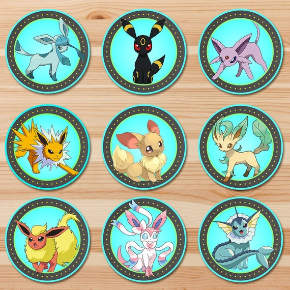 Pokemon Eevee Evolutions Cupcake Toppers - Blue Chalkboard - Pokemon Eevee Toppers - Pokemon Party - Pokemon Sticker Printables
