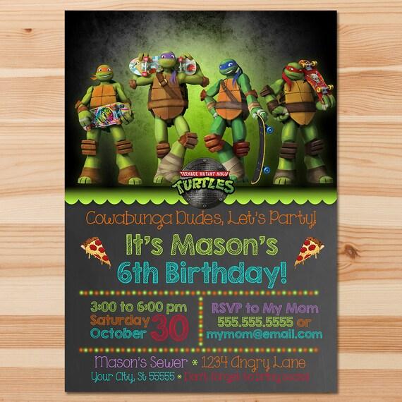 Teenage Mutant Ninja Turtles Birthday Invite