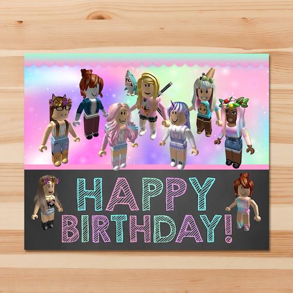 Girl Roblox Happy Birthday Sign Pink Girl Roblox Birthday Etsy