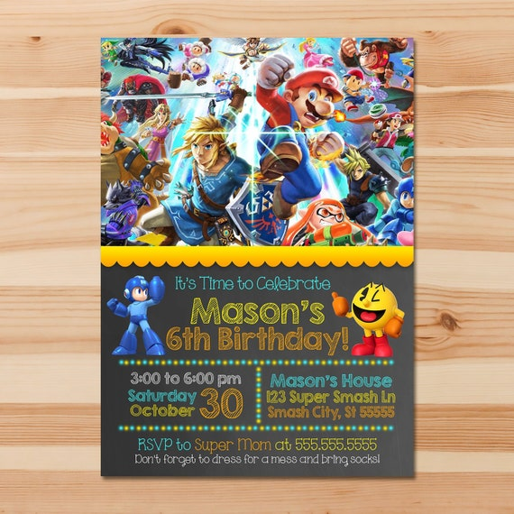 Super Smash Brothers Ultimate Birthday Invite - Chalkboard - Super Smash Brothers Invitation - Super Smash Brothers Party Printables 100898