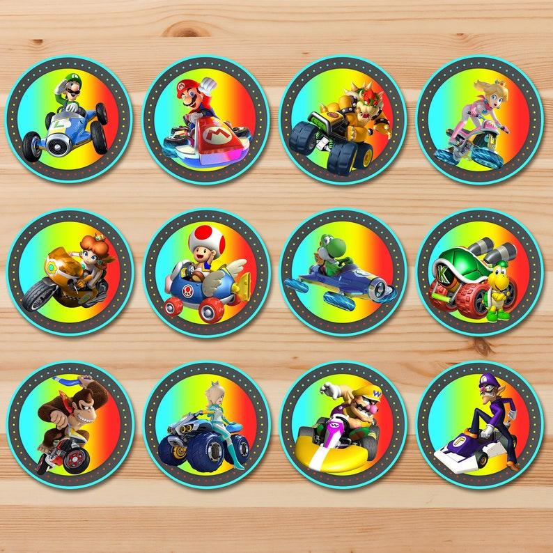 Mario Kart Cupcake Toppers - Mario Kart Birthday Stickers - Mario Kart 8 -  Video Game Birthday Favors Mario Kart Party Printables - 100921