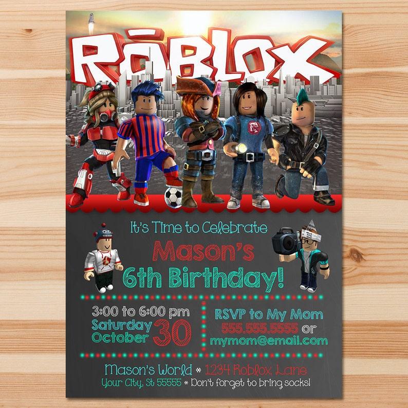 Roblox Birthday Invite Invitation Party