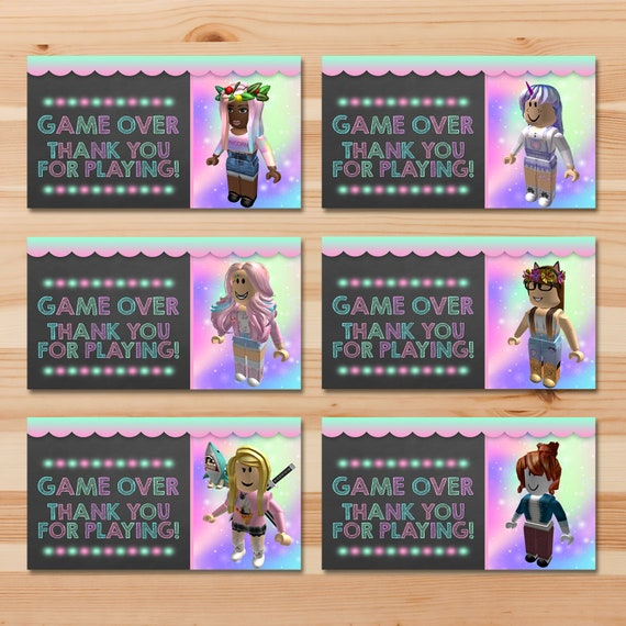 Girl Roblox Party Tags Pink Girl Roblox Favor Tags Roblox Birthday Party For Girls Roblox Printables Roblox Party Favors 100925 - pink roblox girls