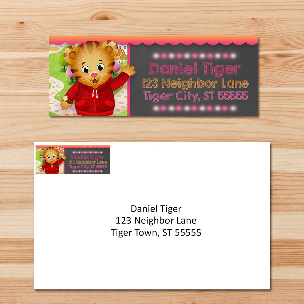 Daniel Tiger Return Address Labels Pink Chalkboard Girl | Etsy