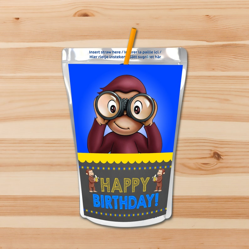 Curious George Capri Sun Labels - Blue - Boy Curious George Drink Label Juice Pouch Label - Curious George Party Printable - 100589
