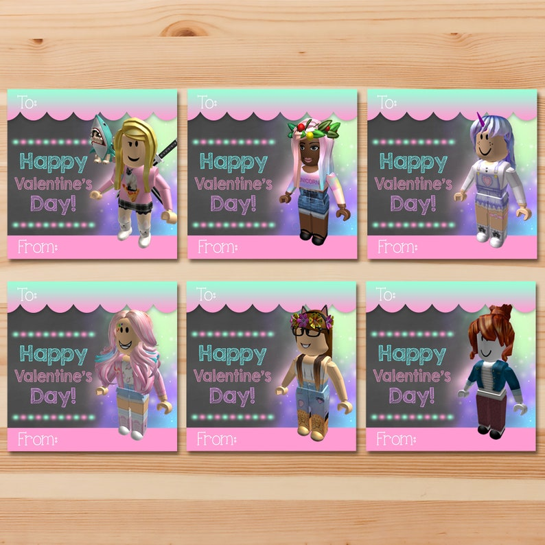 Girl Roblox Valentine's Day Cards - Roblox Valentines Candy - Roblox Party - Roblox Printables - Roblox School Valentine's Day Card - 100565