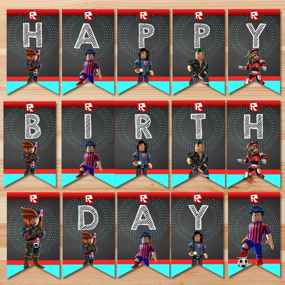 Roblox Happy Birthday Banner Roblox Birthday Banner Etsy
