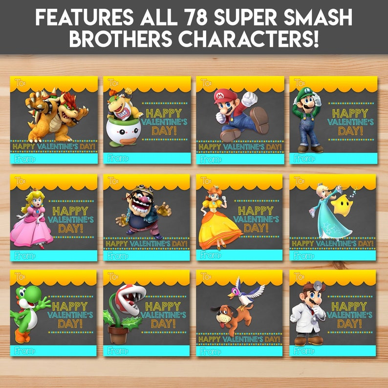 cf25be92 Super Smash Brothers Valentine's Day Cards All 78 | Etsy