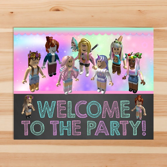 Girl Roblox Welcome To The Party Sign Pink Girl Roblox Etsy