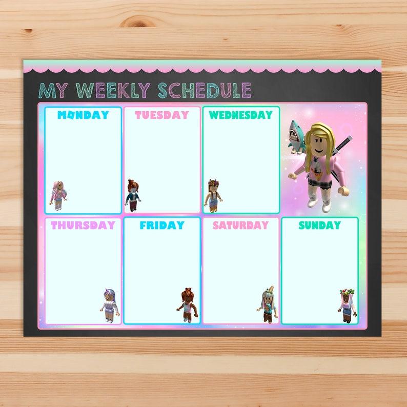 Girl Roblox Weekly Schedule Printable - Pink Roblox - Roblox Children's Weekly Calendar - Roblox Weekly Chore Chart - Weekly Calendar 101046