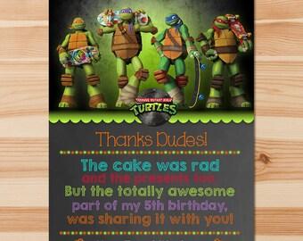 Teenage Mutant Ninja Turtles Birthday Thank You Card - Chalkboard - Ninja Turtles Thanks -Ninja Turtles Party - Ninja Turtle Party Printable