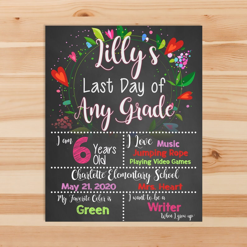Last Day of School Chalkboard Sign Printable Photo Prop - Last Day of School Floral - Personalized Graduation Sign - ANY GRADE