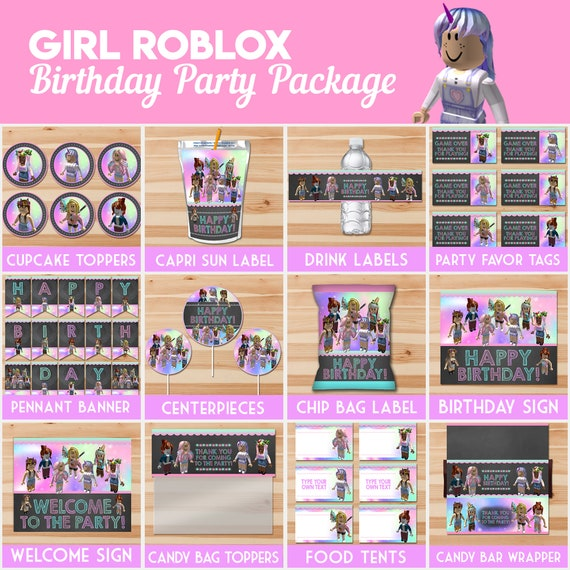 Girl Roblox Birthday Party Package Girl Roblox Party Etsy