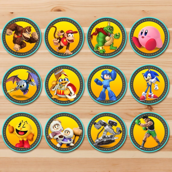 Super Smash Brothers Ultimate Cupcake Toppers Classic Set 1 - Super Smash Brothers Stickers - Super Smash Brothers Party Printables 100898