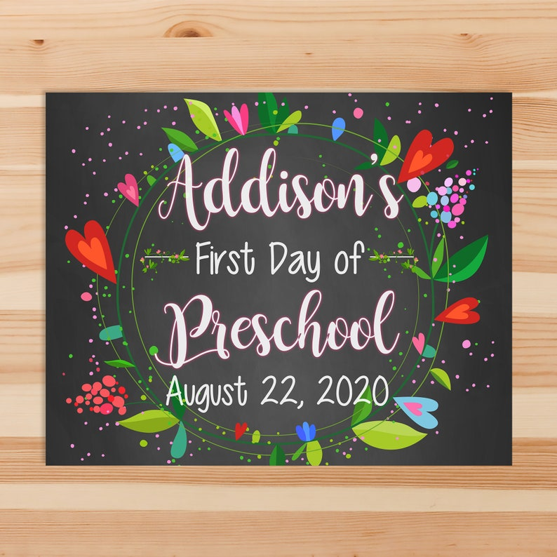 First Day of School Sign 2020 - Floral Chalkboard First Day of School Photo Prop - Custom First Day of School - Back to School Sign - 100713